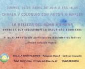 CARTEL DE LA CONFERENCIA DE ANTON KIMPFLER EN 2015 QUE SE CELEBRA EN LA ESCUELA INFANTIL GRIMM DE PEDAGOGIA WALDORF EN GUADARRAMA